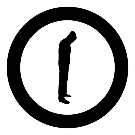 Illustrazione per Man in the hood concept danger silhouette side view icon black color vector illustration flat style simple imagein circle round - Immagini Royalty Free