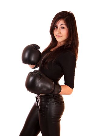 Woman with boxing gloves isolated on white