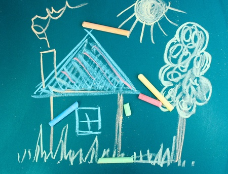 House, child\'s drawing with chalk
