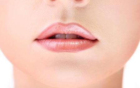 Beautiful make up of gloss lips, close up