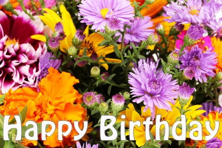 Beautiful bouquet of bright flowers close-up as b-day card