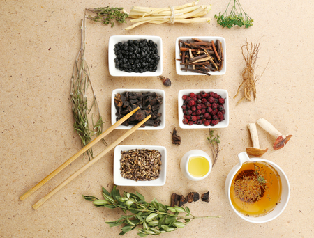 Photo for Traditional chinese herbal medicine ingredients, close-up - Royalty Free Image