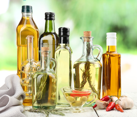 Photo pour Different sorts of cooking oil, close-up - image libre de droit