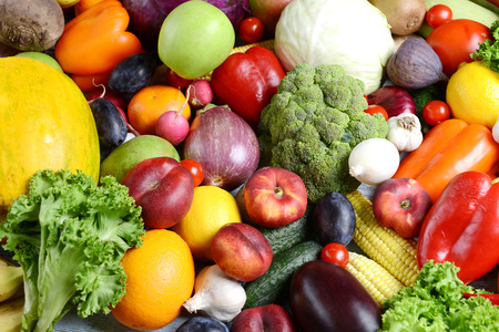 Photo pour Fresh organic fruits and  vegetables close-up - image libre de droit