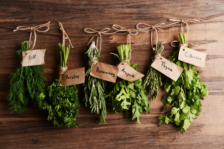 Photo pour Different fresh herbs on wooden background - image libre de droit