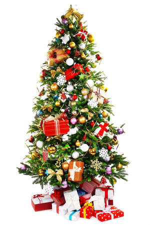 Photo for Decorated Christmas tree isolated on white - Royalty Free Image