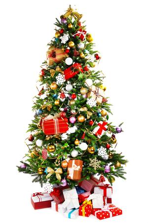 Foto de Decorated Christmas tree isolated on white - Imagen libre de derechos