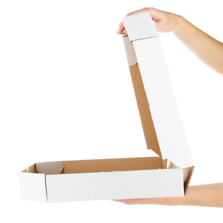 Photo pour Hands holding cardboard pizza box, isolated on white - image libre de droit