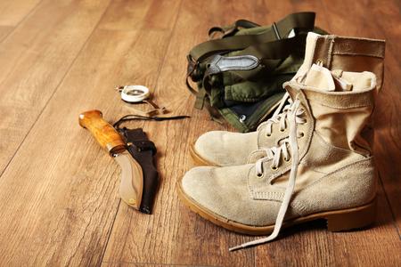 Photo pour Hunting gear on wooden background - image libre de droit