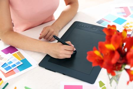 Foto für Artist drawing on graphic tablet in office - Lizenzfreies Bild
