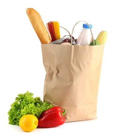 Photo pour Paper bag with food isolated on white - image libre de droit