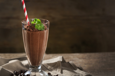 Photo for Chocolate cocktail on wooden background - Royalty Free Image