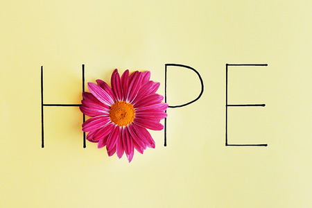 Photo pour Inscription hope with pink flower on green background - image libre de droit