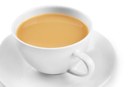 Foto de Porcelain cup of tea with milk isolated on white background - Imagen libre de derechos