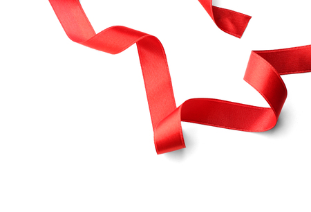 Photo pour Red ribbons, isolated on white - image libre de droit