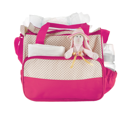 Photo for Mothers bag with toy and accessories on white background - Royalty Free Image