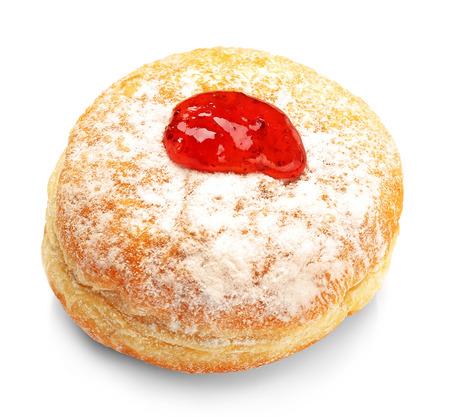 Photo for Tasty donut with jam on white background. Hanukkah celebration concept - Royalty Free Image