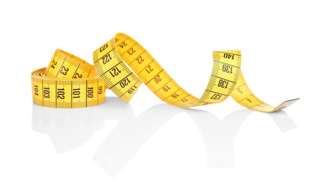 Foto per Diet concept. Color measuring tape on white background - Immagine Royalty Free