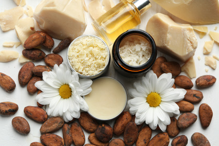 Photo for Beautiful composition with cocoa butter products on table - Royalty Free Image