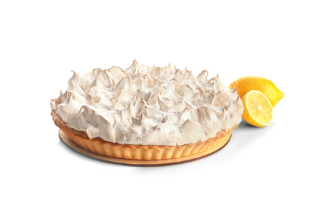 Foto de Tasty lemon meringue pie on white background - Imagen libre de derechos
