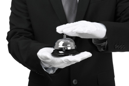 Photo pour Man with bell on white background, closeup - image libre de droit