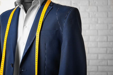Photo for Semi-ready suit on mannequin indoors, closeup - Royalty Free Image