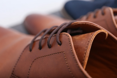 Foto de Pair of stylish male shoes, closeup - Imagen libre de derechos