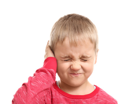 Photo for Little boy suffering from ear pain, isolated on white - Royalty Free Image