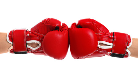 Foto de Men in boxing gloves on white background - Imagen libre de derechos