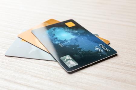 Photo pour Credit cards on table, closeup - image libre de droit