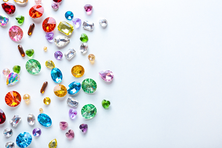 Photo for Colorful precious stones for jewellery on white background - Royalty Free Image