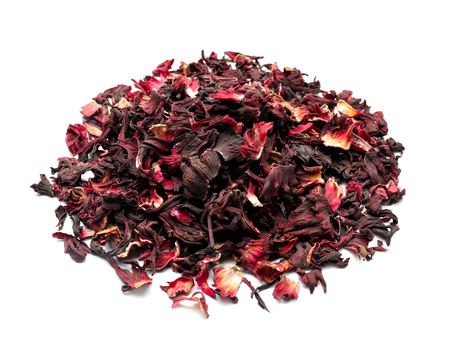 Photo pour Heap of dry hibiscus tea on white background - image libre de droit
