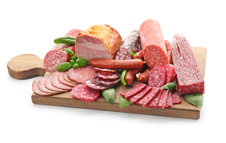 Photo for Assortment of delicious deli meats on wooden board, isolated on white - Royalty Free Image