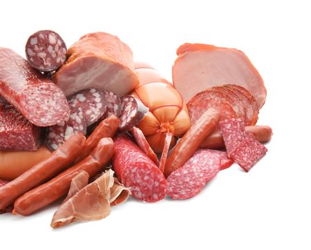 Photo pour Assortment of delicious deli meats on white background - image libre de droit