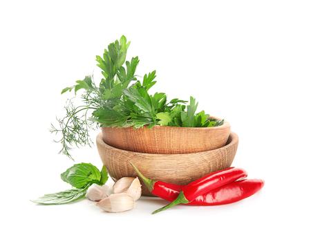 Foto de Composition with fresh spices on white background - Imagen libre de derechos
