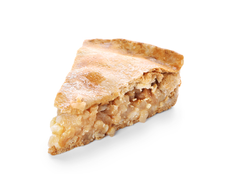 Photo for Piece of tasty apple pie on white background - Royalty Free Image