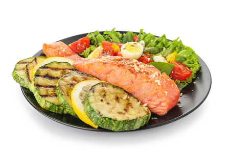 Photo pour Plate with tasty salmon and fresh salad on white background - image libre de droit
