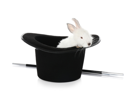 Foto de Magician hat with cute rabbit on white background - Imagen libre de derechos