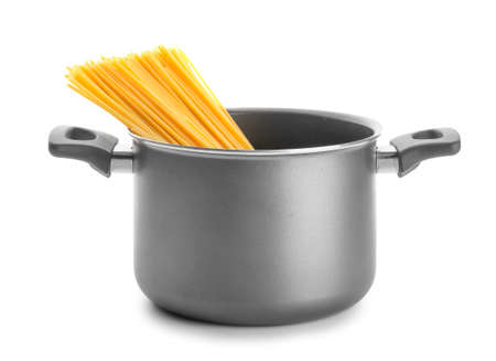 Cooking pot with pasta isolated on white background