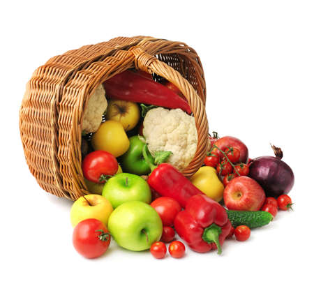 fruit and vegetable in basket isolated on white background