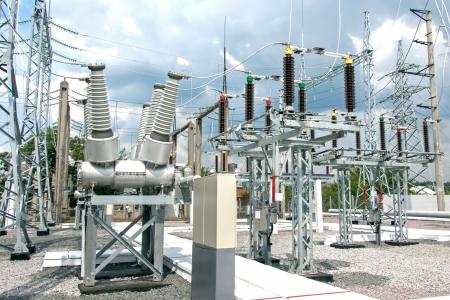 Foto de High voltage electric power substation in summer day - Imagen libre de derechos