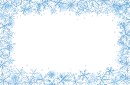 Ilustración de Abstract Christmas border background with blue snowflakes. - Imagen libre de derechos