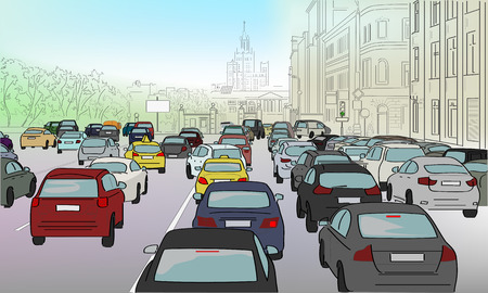 Illustration pour Traffic jam of cars on the main street - image libre de droit