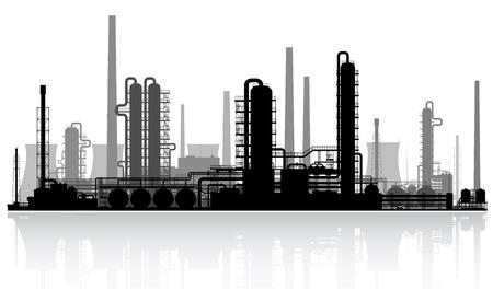 Illustration pour Oil refinery or chemical plant silhouette   - image libre de droit