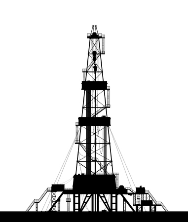 Ilustración de Oil rig silhouette. Detailed vector illustration isolated on white background. - Imagen libre de derechos