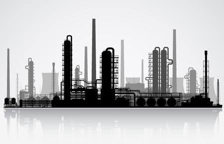 Illustration pour Oil refinery or chemical plant silhouette. Vector illustration.  - image libre de droit