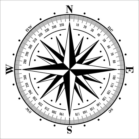 Illustration pour Compass rose isolated on white. Vector illustration. - image libre de droit