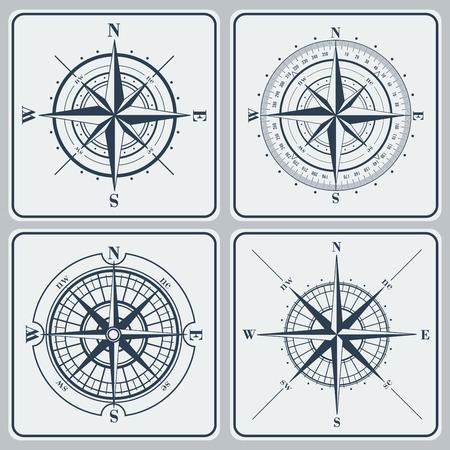 Ilustración de Set of compass roses (windroses) . Vector illustration. - Imagen libre de derechos