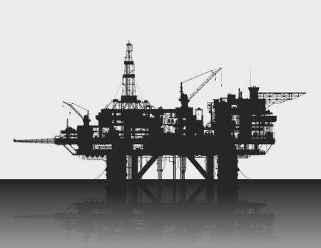Ilustración de Sea oil rig. Oil platform in the deep sea. Detailed vector illustration. - Imagen libre de derechos