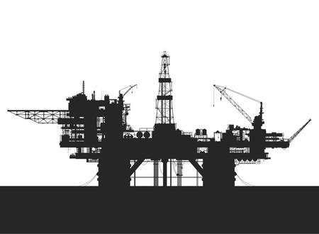 Illustration pour Sea oil rig. Oil platform in the sea. Detailed vector illustration. - image libre de droit